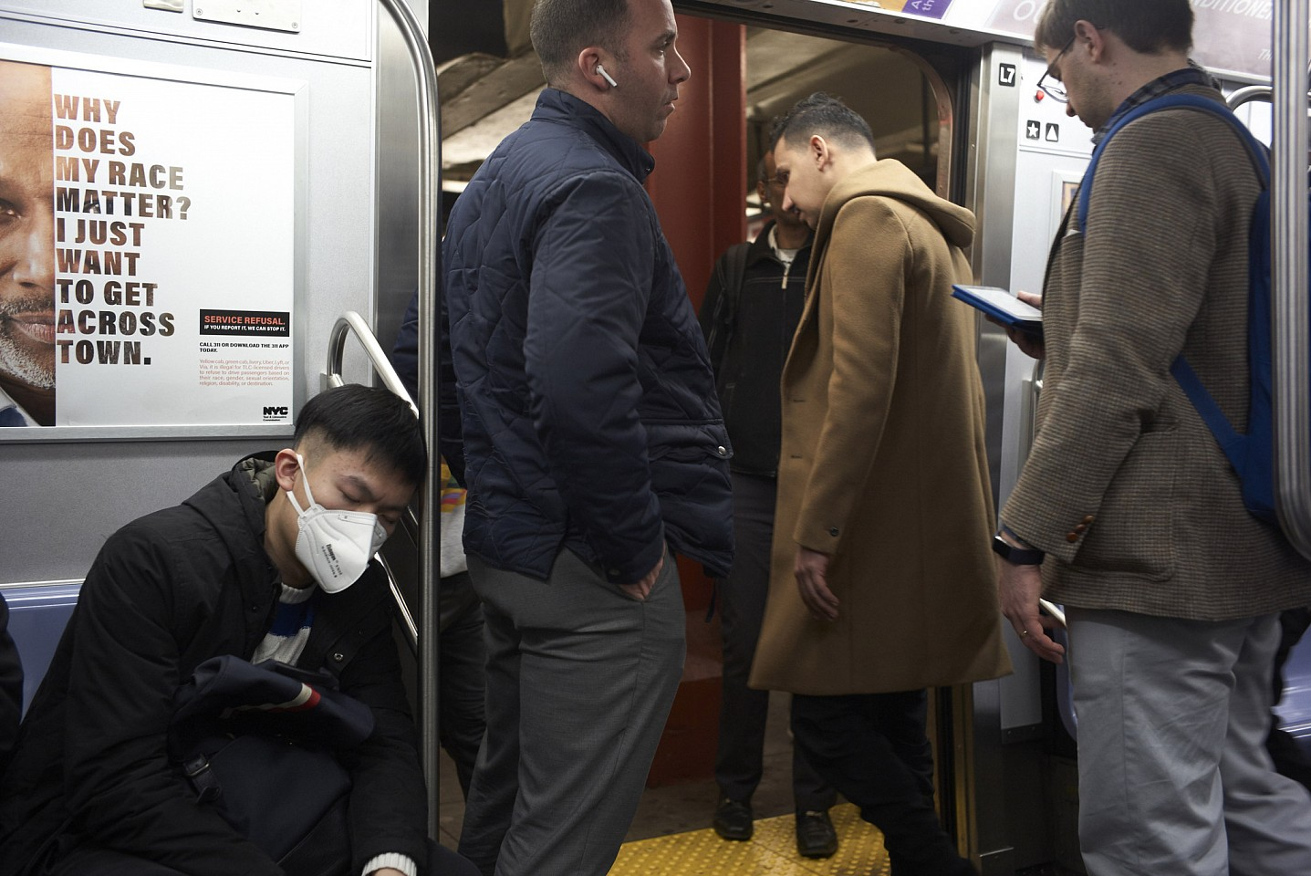 Gus Powell ,   Subway Mask - Flushing, Queens; March 4, 2020      Archival digital c-type print     © Gus Powell